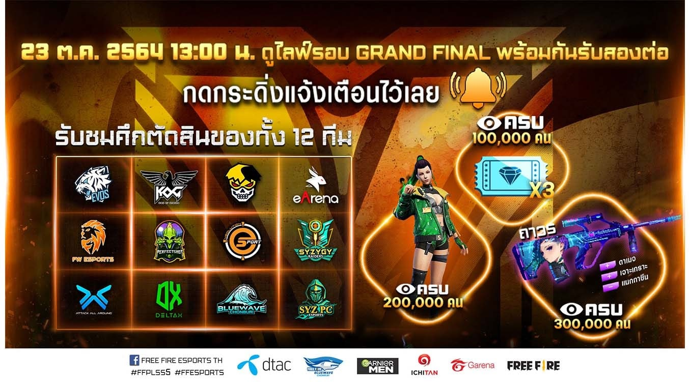 ศึกตัดสินสุดเดือด! เพื่อเฟ้นหาสุดยอดทีมอีสปอร์ตระดับประเทศ Free Fire Pro League Season 5 Presented by dtac รอบ Grand Final